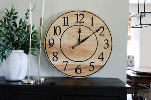 Solid Ash Wood Wall Clock with Black Numbers and Lines
