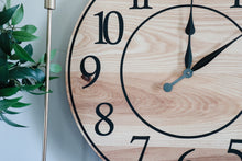 Load image into Gallery viewer, Solid Ash Wood Wall Clock with Black Numbers and Lines
