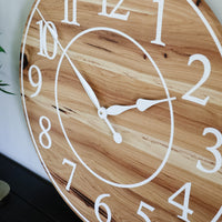 Solid Hickory Wood Wall Clock with Numbers and Lines