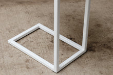 Load image into Gallery viewer, Quartersawn Sycamore Industrial Side C Table with White Base
