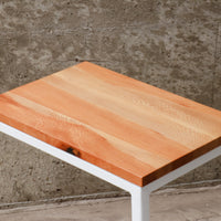 Quartersawn Sycamore Industrial Side C Table with White Base