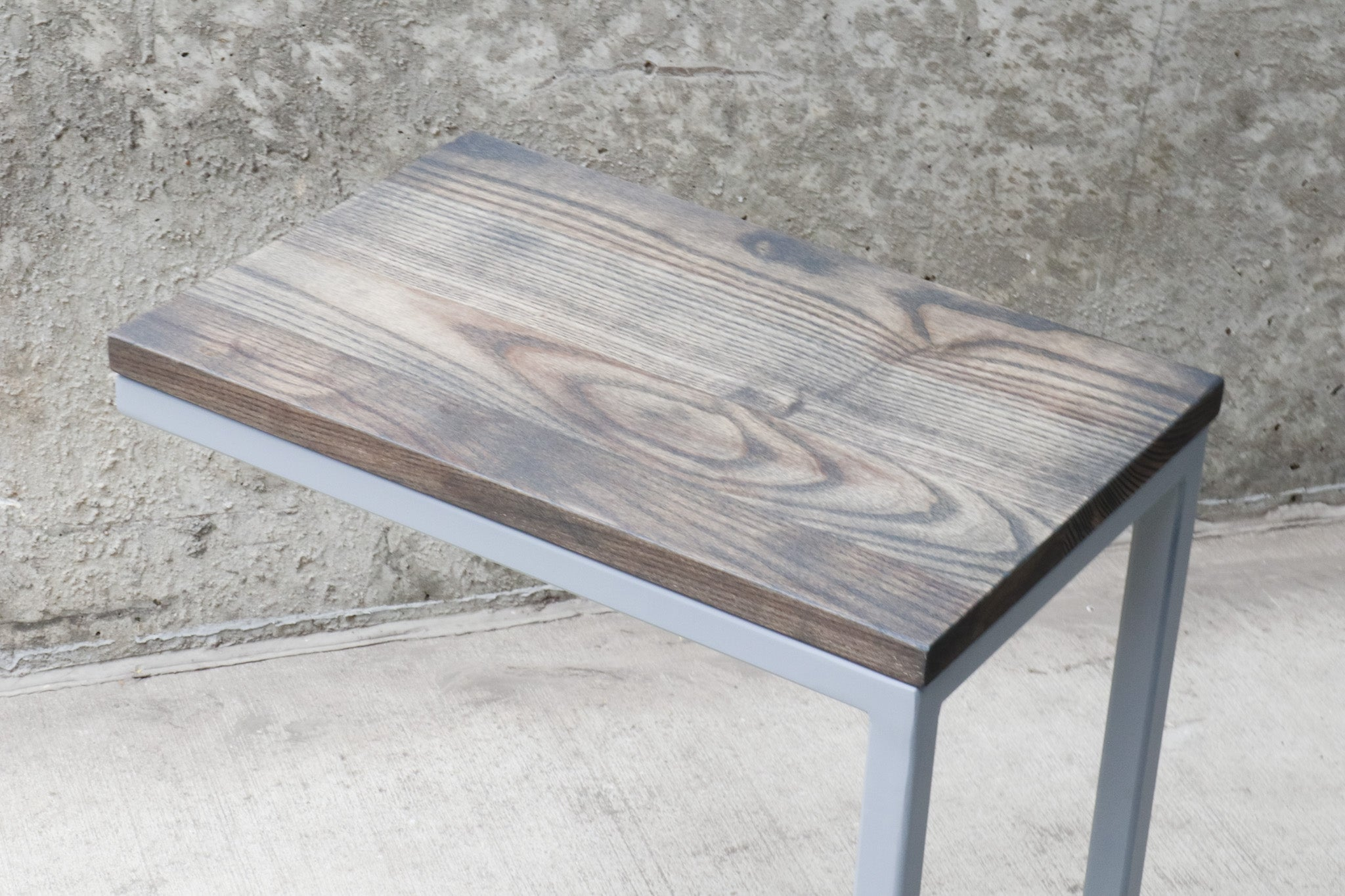 Charcoal Stained Ash Laptop C Table with Grey Base