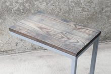 Load image into Gallery viewer, Charcoal Stained Ash Laptop C Table with Grey Base
