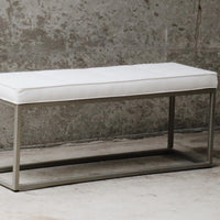 Tufted Upholstery Bench with Gold Metal