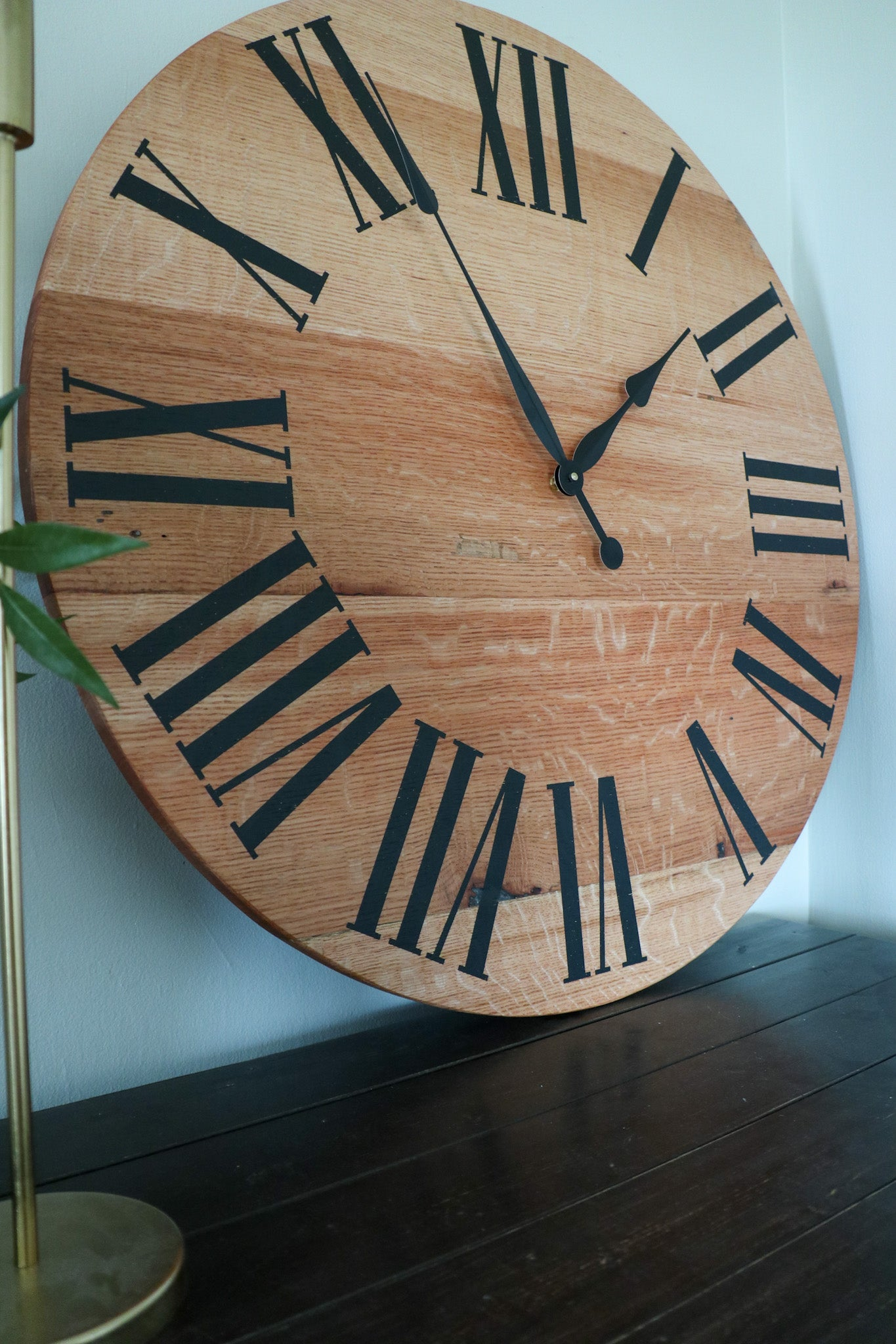 Simple Large Quartersawn Red Oak Wall Clock with and Roman Numerals