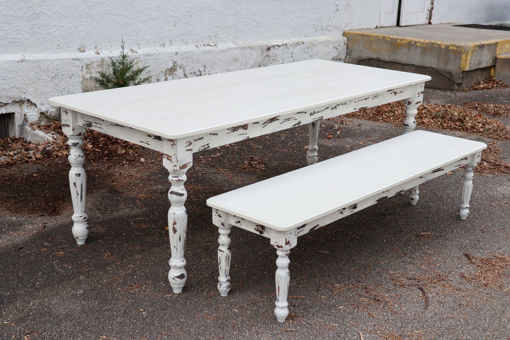 White Farmhouse Dining Table & Bench with Distressed Legs