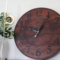 Solid Wood Walnut Wall Clock with Black Numbers