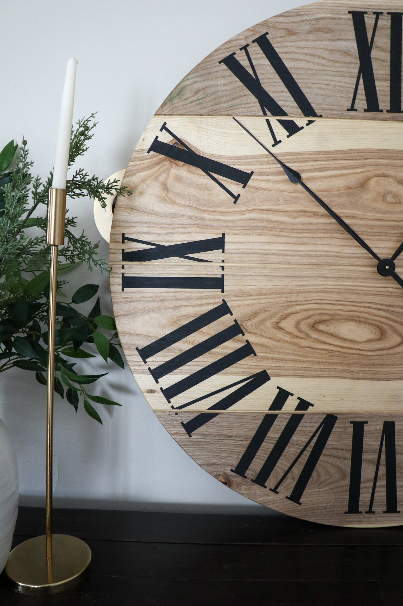 Large Solid Wood Hackberry Wall Clock with Black Roman Numerals