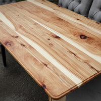 Narrow Hickory Farmhouse Dining Table with Turned Legs