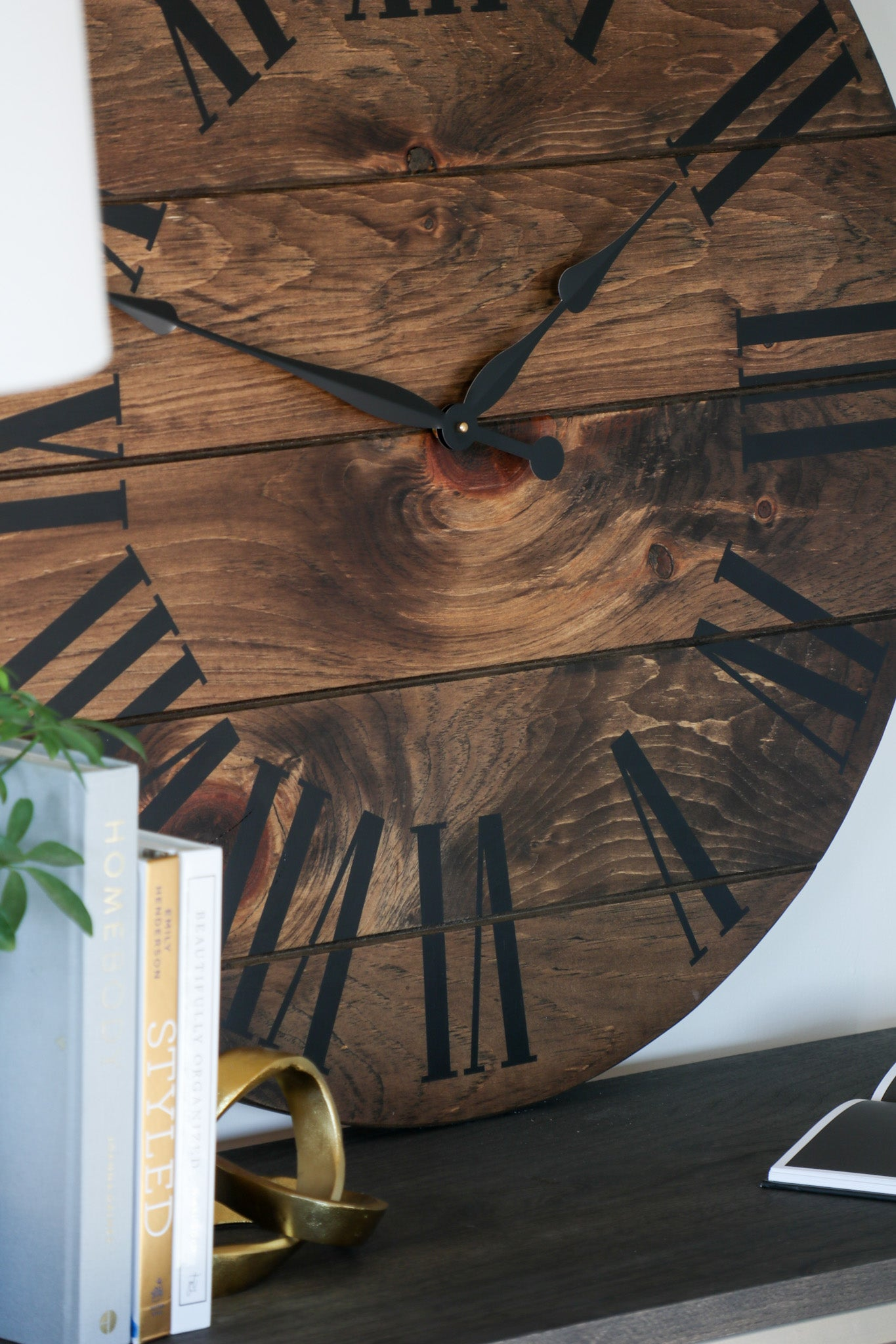 Dark Stained Large Farmhouse Wall Clock with Black Roman Numerals