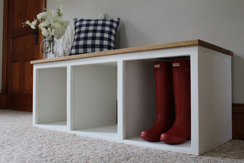 Modern Farmhouse Style Solid Wood Shoe Cabinet Bench