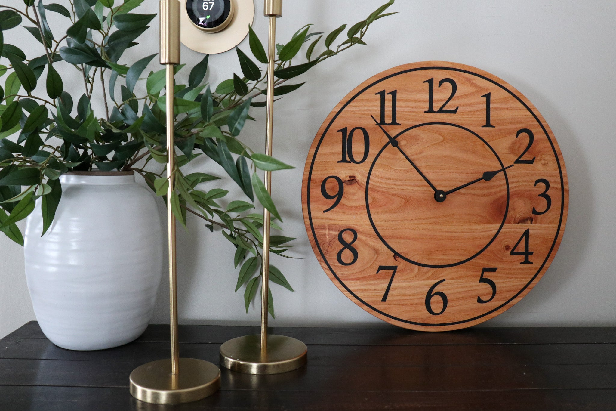 Locust Hardwood Large Wall Clock with Regular Numbers