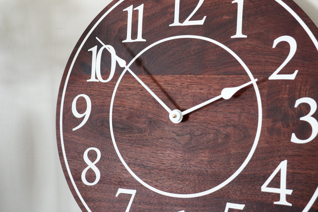 Solid Wood Walnut Wall Clock with White Numbers