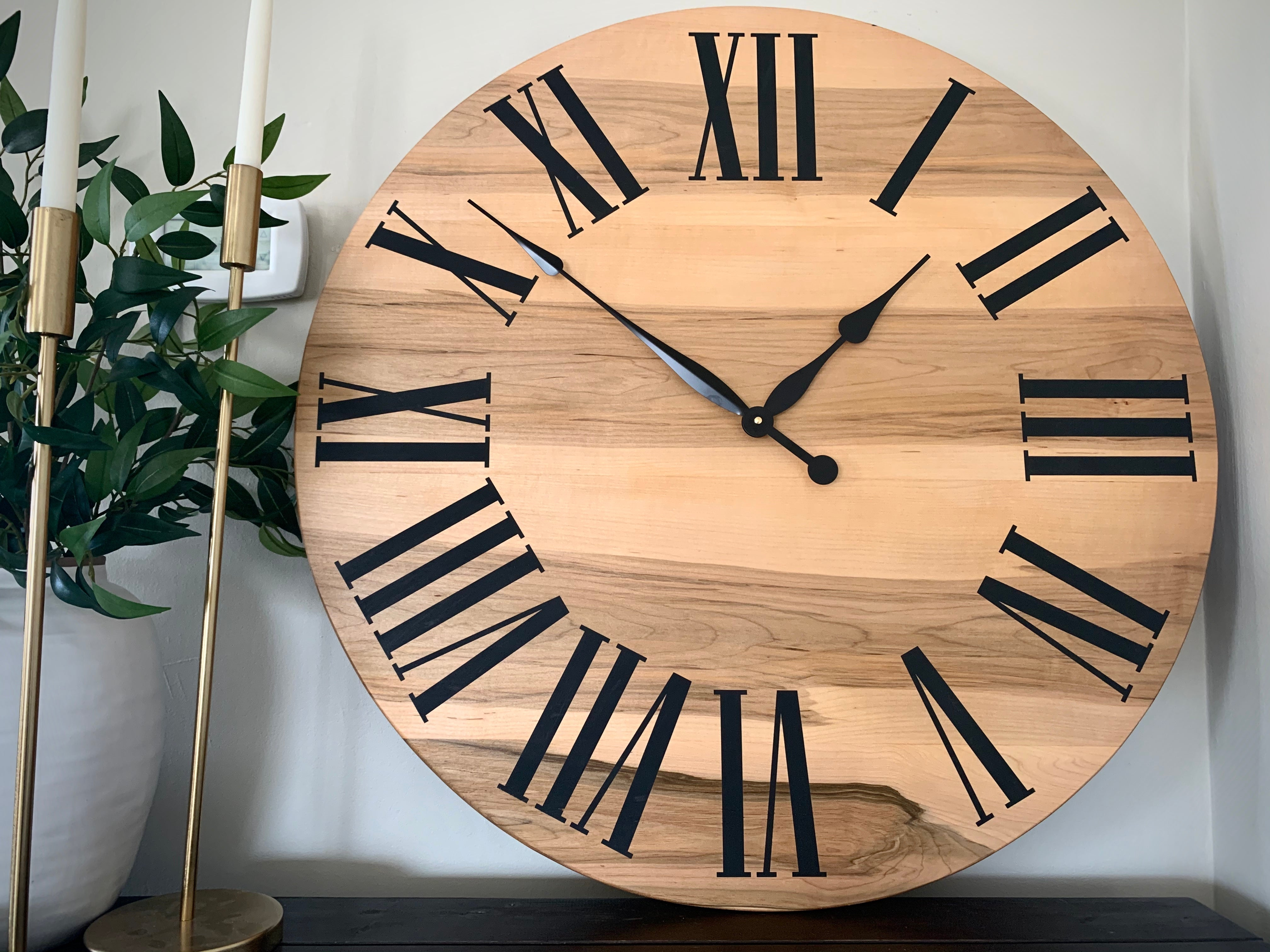 Large Solid Rustic Maple Hardwood Farmhouse Wall Clock with Black Roman Numerals