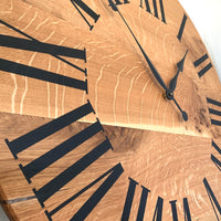 Large Quartersawn White Oak Wall Clock with and Roman Numerals
