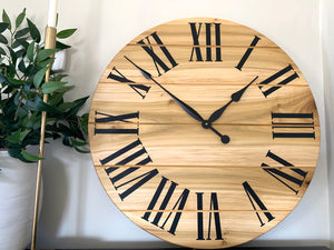 Large Solid Poplar Hardwood Farmhouse Wall Clock with Black Roman Numerals