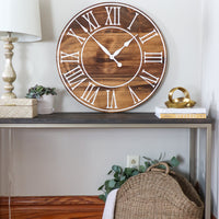 Light Stained Large Farmhouse Wall Clock with White Roman Numerals & Lines