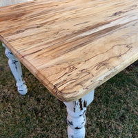 Spalted Maple Farmhouse Dining Table with White-Distressed Paint