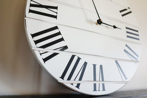 White Lightly Distressed Large Wall Clock