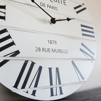 French Style White Lightly Distressed Large Wall Clock