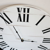Simple White Lightly Distressed Large Wall Clock with Black Roman Numerals