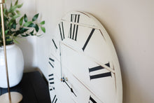 Load image into Gallery viewer, White Lightly Distressed Large Wall Clock