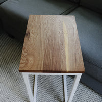 White Oak Modern Side C Table with White Base