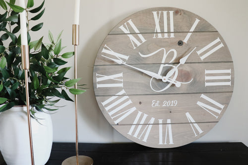 Large Customized Grey Wall Clock