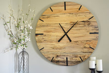 Load image into Gallery viewer, Mid Century Modern Hardwood Spalted Maple Wall Clock with Black Number Lines