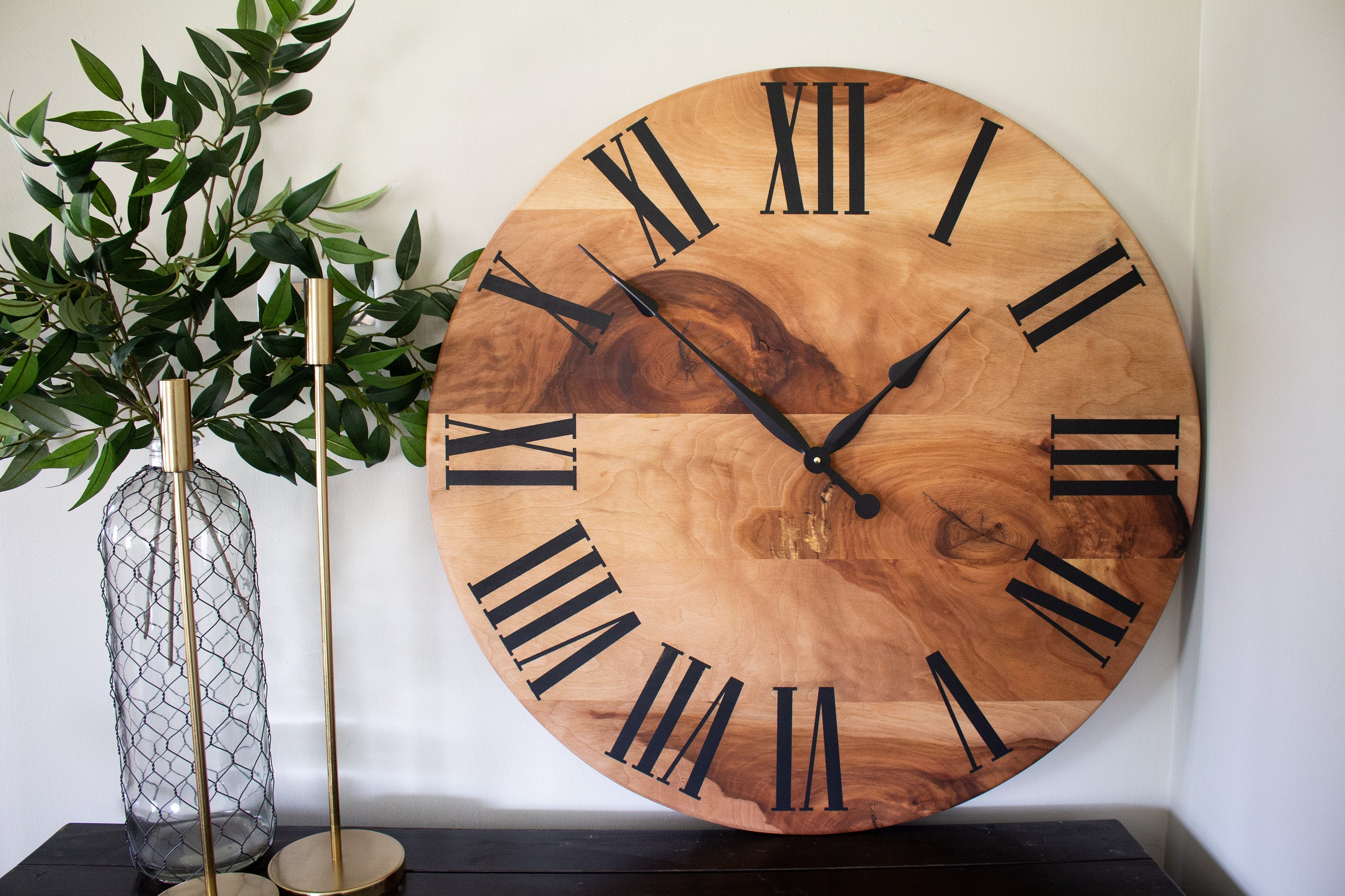 Large Solid Sycamore Hardwood Farmhouse Wall Clock with Black Roman Numerals