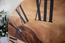 Load image into Gallery viewer, Large Solid Sycamore Hardwood Farmhouse Wall Clock with Black Roman Numerals