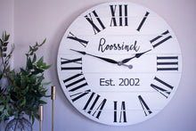 Load image into Gallery viewer, Personalized Modern Farmhouse White Shiplap Wooden Wall Clock with Black Roman Numerals
