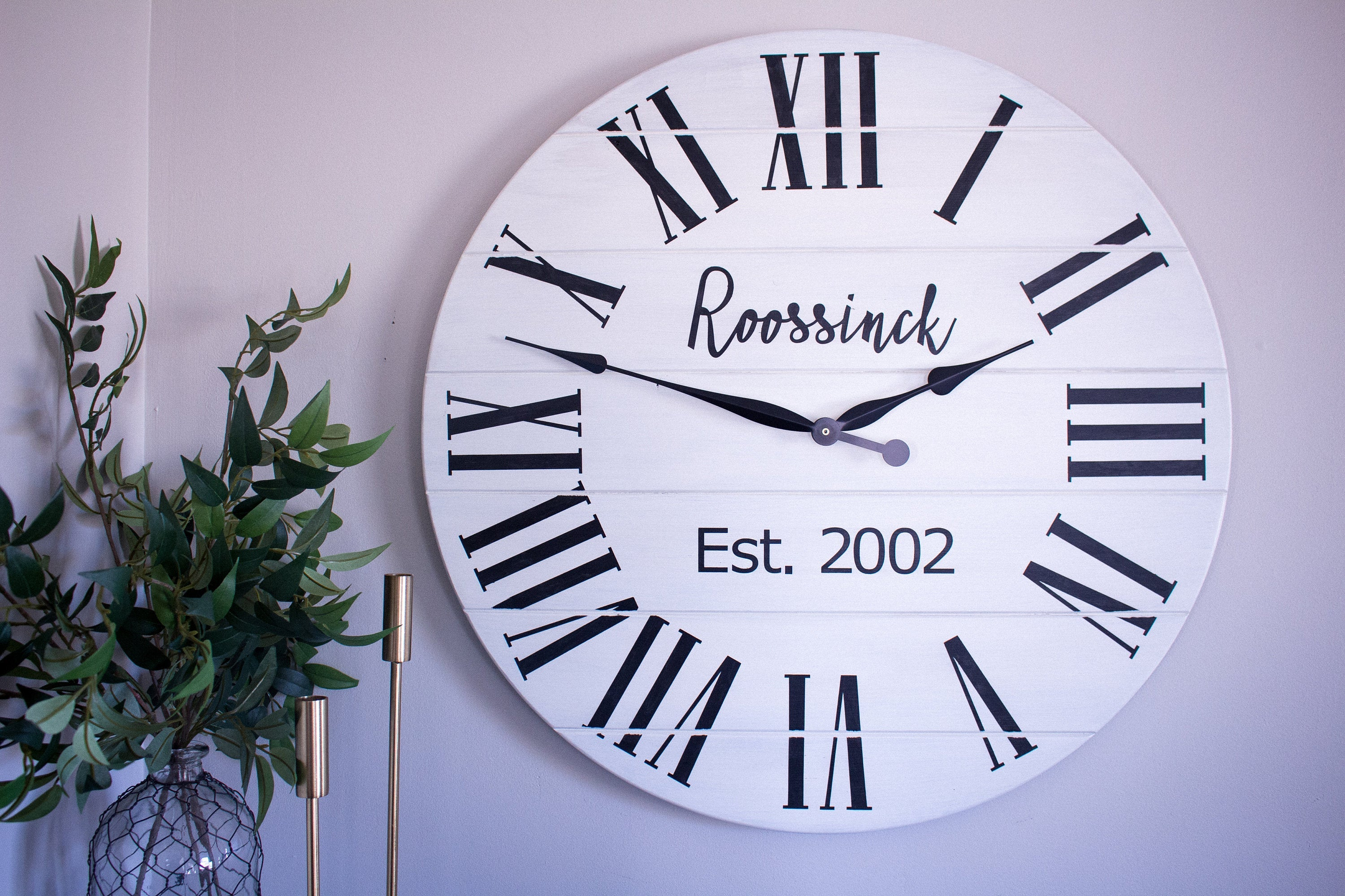 Personalized Modern Farmhouse White Shiplap Wooden Wall Clock with Black Roman Numerals