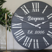 Personalized Large Grey Painted Wooden Clock with White Roman Numerals