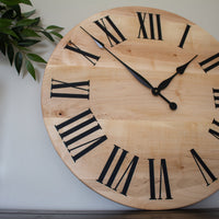 Large Solid Soft Maple Wood Clock with Black Roman Numerals