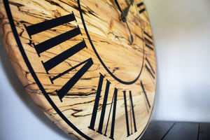 Solid Spalted Maple Wall Clock with Black Lines and Roman Numerals
