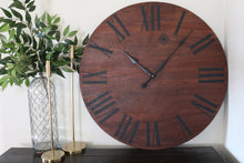 Load image into Gallery viewer, Solid Wood Walnut Wall Clock with Black Roman Numerals