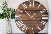 Load image into Gallery viewer, Dark Stained Large Farmhouse Wall Clock with White Roman Numerals