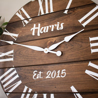 Personalized Dark Stained Large Farmhouse Wall Clock with White Roman Numerals