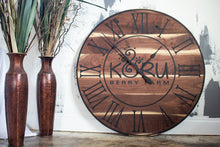 Load image into Gallery viewer, Live Edge Black Walnut Oversized Wall Clock with Black Lines and Roman Numerals
