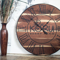Live Edge Black Walnut Oversized Wall Clock with Black Lines and Roman Numerals