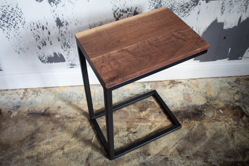 Live Edge Walnut Industrial Side C Table