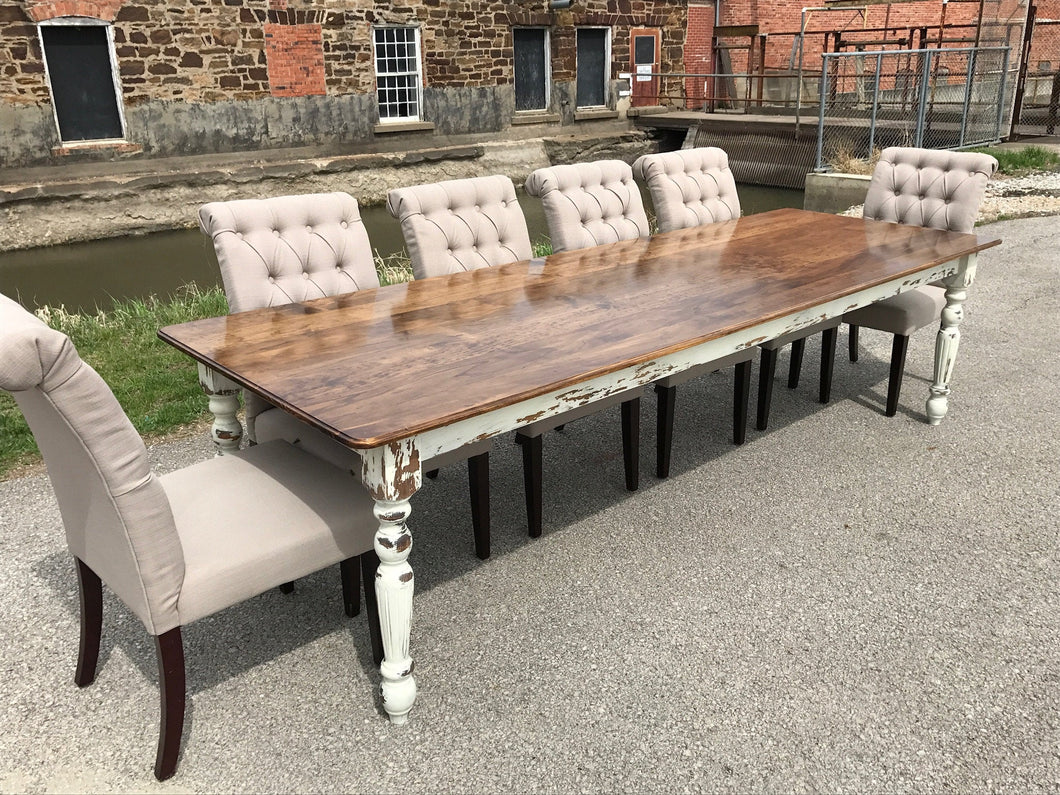 Farmhouse Dining Table with White Distressed Legs and Stained Top