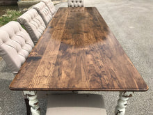 Load image into Gallery viewer, Farmhouse Dining Table with White Distressed Legs and Stained Top