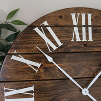 Dark Stained Large Farmhouse Wall Clock with White Roman Numerals