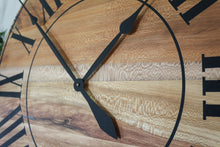 Load image into Gallery viewer, Large Quartersawn Sycamore Hardwood Wall Clock with Black Roman Numerals