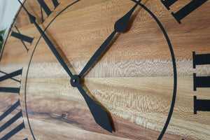 Large Quartersawn Sycamore Hardwood Wall Clock with Black Roman Numerals
