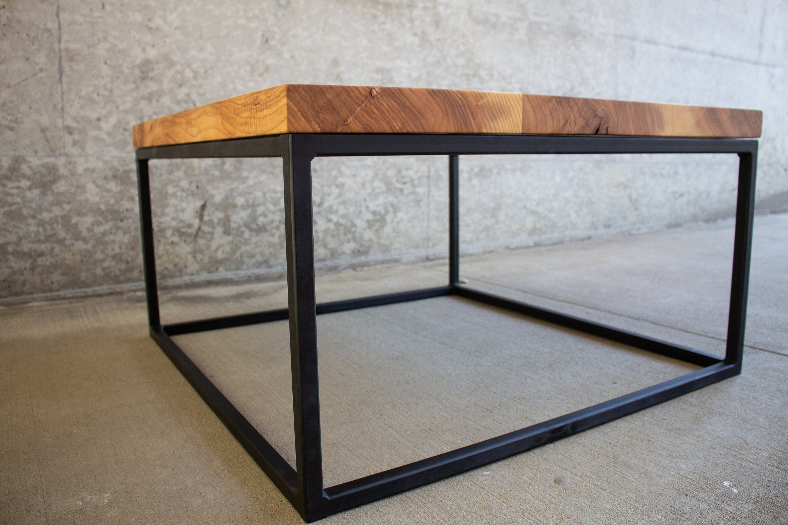 Industrial Solid Wood and Steel Coffee Table