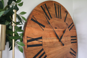 Large Solid Cherry Hardwood Wall Clock with Black Roman Numerals