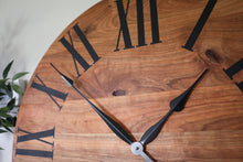 Load image into Gallery viewer, Large Solid Cherry Hardwood Wall Clock with Black Roman Numerals